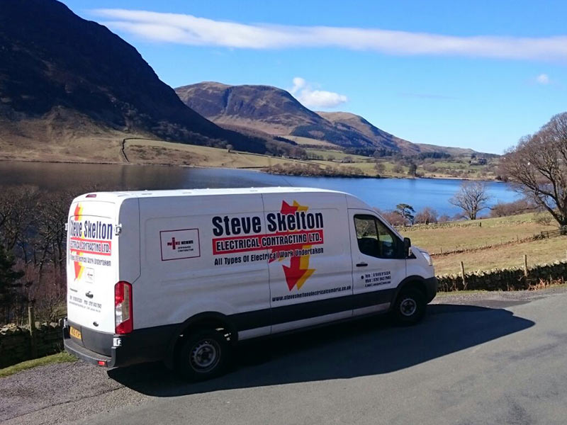Steve Skelton Electrical Contracting Limited's van driving through Cumbria